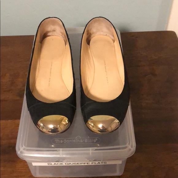 9f654d8ada1 Giuseppe Zanotti Shoes | Black Flats Gold Metal Toe Cap | Poshmark